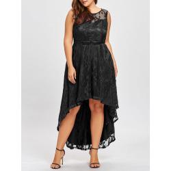 Plus Size Dip Hem Lace Evening Dress