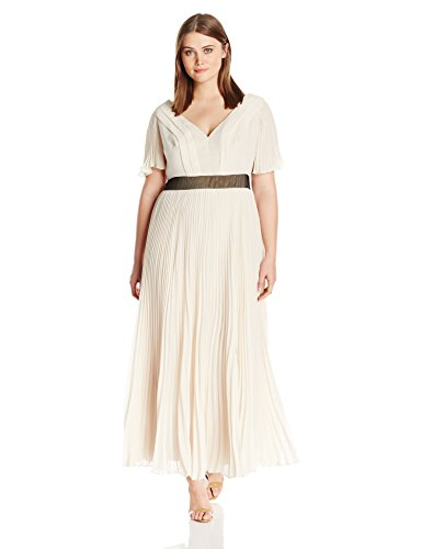ABS by Allen Schwartz Women's Plus-Size Pleated Chiffon Gown with Flutter Sleeves, Champagne, 16W
