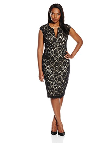 Single Dress Women's Plus Size Lace Meg Dress, Black/Nude, 1X