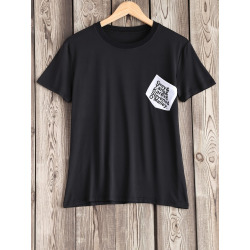 Women's Simple Pocket Design Letter Pattern Tee