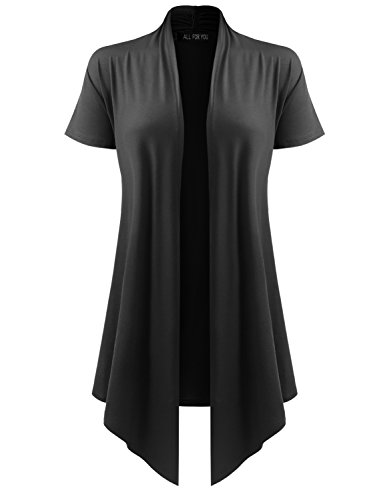 A.F.Y All For You Women's Soft Drape Cardigan Short Sleeve Black XXX-Large