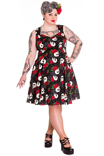 Hell Bunny Plus Size Gothic Rockabilly Retro Skull Spiderweb Rock Ruin Dress (Tagged 2X)