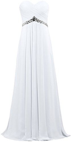 ANTS Women's Strapless Bead Empire Long Chiffon Prom Dress Gown Size 18W US White