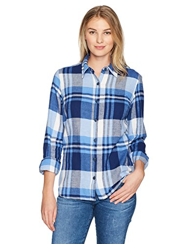 Dickies Women's Size Long Sleeve Plaid Shirt, Lapis/Opaque White Plaid, XX-Large Plus