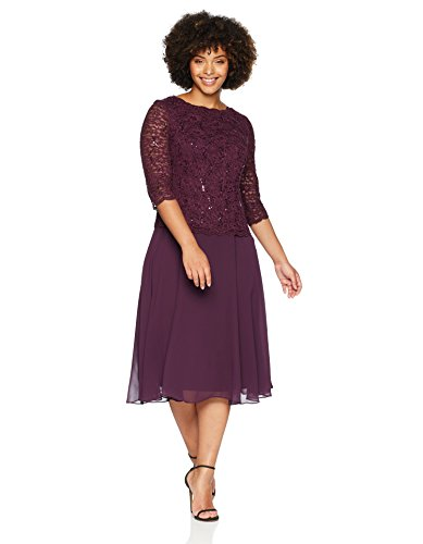 Alex Evenings Women's Plus Size Tea-Length Lace Mock Dress, Short Deep Plum, 18W