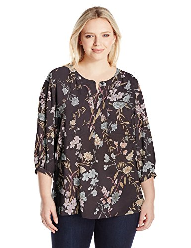 NYDJ Women's Plus Size 3/4 Sleeve Henley Pleat Back Blouse, Stockholm Meadow, 3X