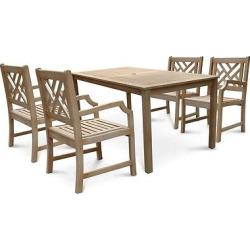 Vifah Renaissance Rectangular Table & Arm Chair Outdoor Hand-scraped Dining Set 8 – Gray