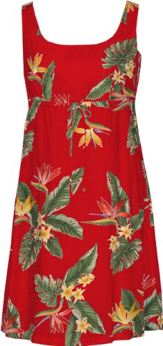 RJC Womens Bird of Paradise Display Empire Tie Front Short Tank Dress in Red – 3X Plus