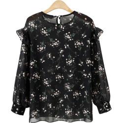 Flower Printing Long Sleeved Chiffon Shirt