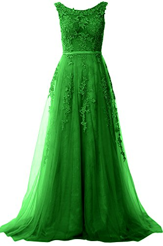 MACloth Women Boat Neck Long Prom Gown Vintage Lace Evening Formal Party Dress (14, Green)