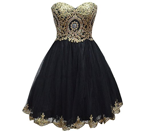 Lemai Tulle Little Black Short Gold Lace Corset Prom Homecoming Cocktail Dresses US 12