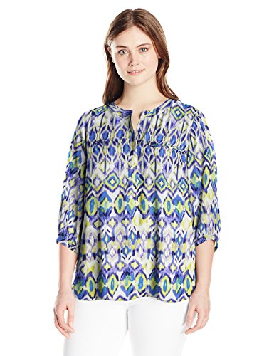 NYDJ Women's Plus Size 3/4 Sleeve Henley Pleat Back Blouse, Ivory Coast Ikat Blue, 1X