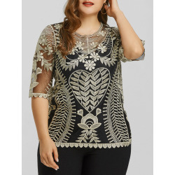 Plus Size Sheer Lace Top