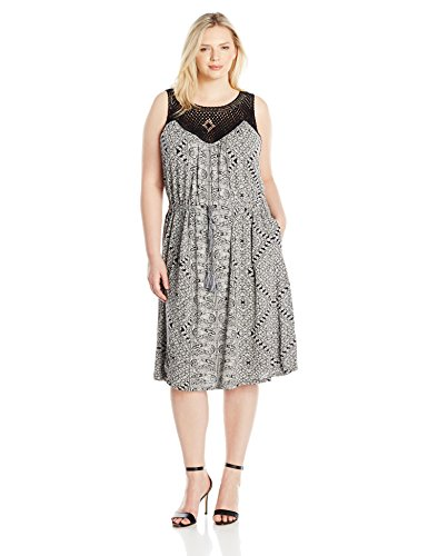 Lucky Brand Women's Plus Size Knit Macrame Dress, Black/Multi, 3X