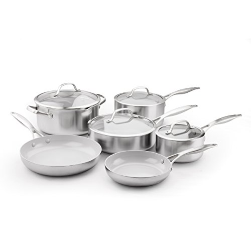 greenpan cc000018 001 venice pro stainless steel 100 toxin free healthy - GreenPan CC000018-001 Venice Pro Stainless Steel 100% Toxin-Free Healthy Ceramic Nonstick Metal Utensil safe Dishwasher/Oven Safe Cookware Set, 10-Piece, Light Grey