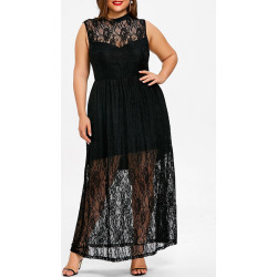 Plus Size Sleeveless Lace Maxi Dress