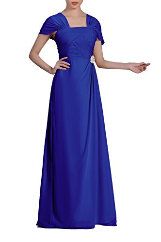 Formal Pleated Chiffon Bateau Sleeveless Sheath Long Mother Of The Bride Groom Dress, Color Royal Blue,10