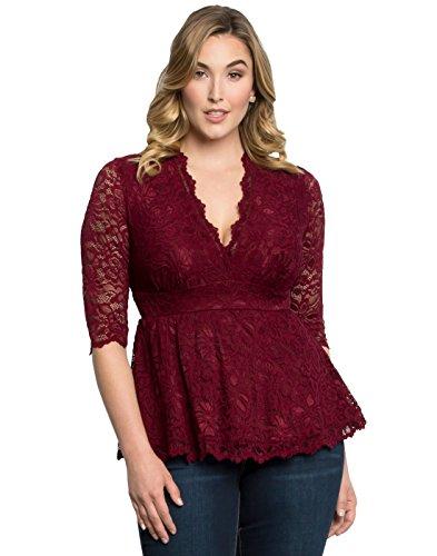 Kiyonna Women's Plus Size Linden Lace Top 2X Pinot Noir