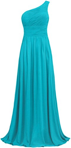 ANTS Women's Pleat Chiffon One Shoulder Bridesmaid Dresses Long Evening Gown Size 4 US Jade
