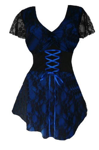 Dare To Wear Victorian Gothic Boho Women's Plus Size Sweetheart Corset Top Blueberry L