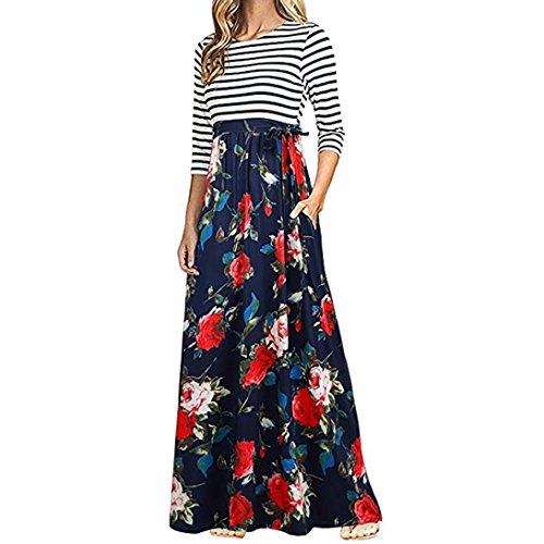 Longra Women Floral Print Long Sleeve High Waist Boho Long Maxi Dresses with Pockets Long Summer Dresses for Women (Red, M)