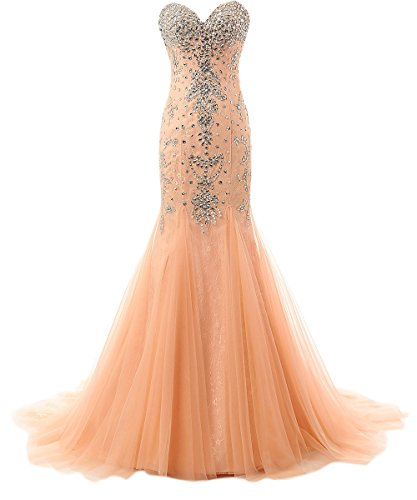 M Bridal Women's Sequines Rhinestones Sweetheart Long Mermaid Formal Prom Dress Peach Size 26