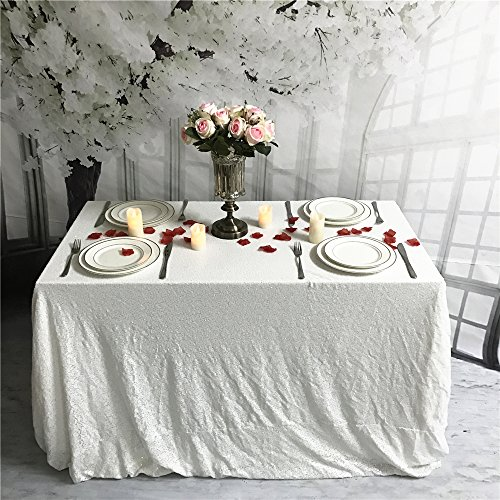 ShiDianYi TRLYC 90×196-Inch Christmas White Sequin Tablecloth for Wedding Party Banquet