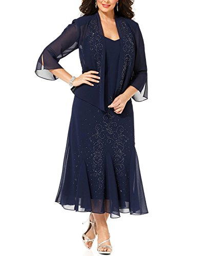 R&M Richards Women's Plus Size Beaded Jacket Dress – Mother of the Bride Dresses (16W, NAVY)