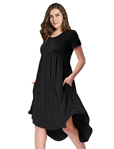 AMZ PLUS Plus Size Scoop Neck Short Sleeve Pleated Tunic Casual Dress for Women Black 3XL