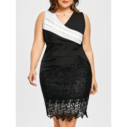 Plus Size Color Block Pleated Dress