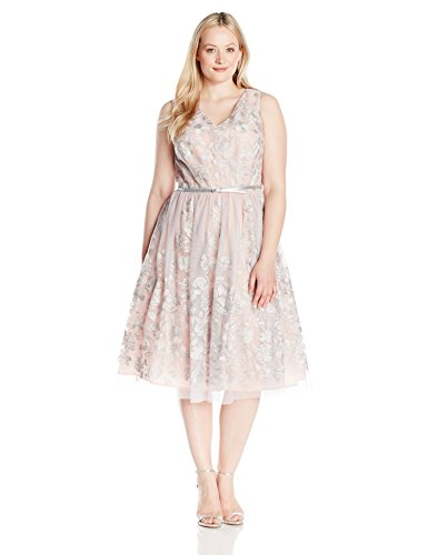 Jessica Howard Women's Plus Size V-Neck Party Dress, Silver Combo, 18W