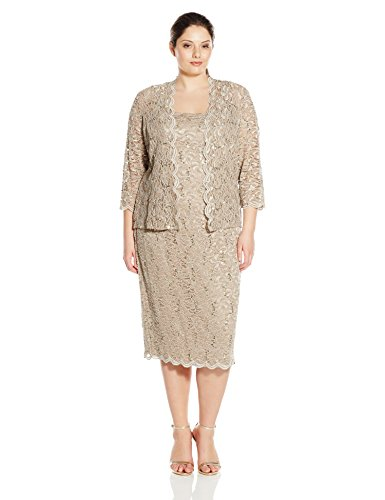 Alex Evenings Women's Plus Size Tea Length Lace Dress and Jacket, Champagne, 20W