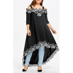 Plus Size Cold Shoulder High Low Dress