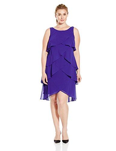 S.L. Fashions Women's Plus Size Re-Order Jewel Shoulder Multi Tier Dress, Iris, 14W