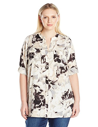 Calvin Klein Women's Plus Size Crew Neck Roll Sleeve Blouse, Soft White Combo, 2X