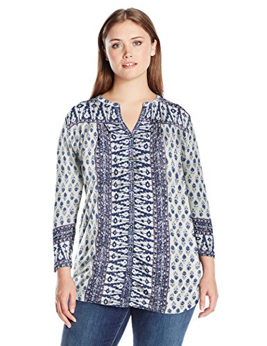 Lucky Brand Women's Plus Size Woodblock Printed Top, Natural Multi, 1X