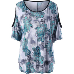 Cold Shoulder Printed Plus Size Top