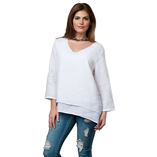 SIGNALS Women's Easy Fit Double Layer Garment Dyed Linen Tunic Top – 1X – White