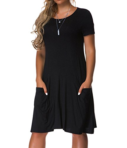 VOIANLIMO Women's Plus Size Casual Loose T Shirt Mini Dress with Pockets (2X Plus, Black)