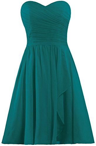 ANTS Women's Sweetheart Short Bridesmaid Dresses Chiffon Wedding Party Dress Size 8 US Teal