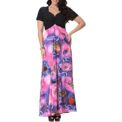 Sweetheart Neckline Short Sleeve Printed Maxi Dress For Women