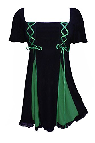 Dare to Wear Victorian Gothic Boho Women's Plus Size Gemini Princess S/S Corset Top Black/Emerald 3X