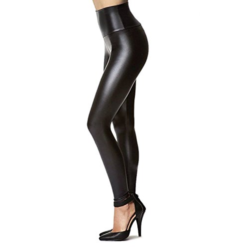 Women's Stretchy Faux Leather Leggings Pants, Sexy Black High Waisted Tights (L(1-Pack) Fits Waist 30″-34″/Hips 41″-44″)