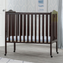 Delta Children Portable Folding Crib With Mattress, Brown