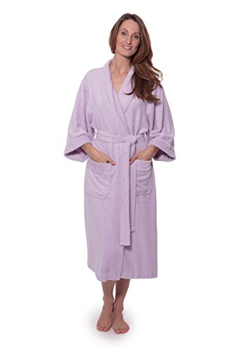 Women's Luxury Terry Cloth Bathrobe – Bamboo Viscose Robe by Texere (Ecovaganza, Lavender Fog, Large/X-Large) Anniversary Gift for Her WB0101-LVF-LXL
