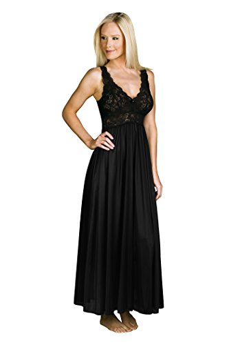 Shadowline Women's Plus-Size Silhouette 53 Inch Sleeveless Long Gown, Black, 1X