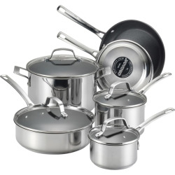 circulon genesis 10 pc nonstick stainless steel cookware set grey - Circulon Genesis 10-pc. Nonstick Stainless Steel Cookware Set, Grey
