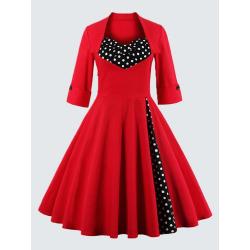 Plus Size Vintage Polka Dot Dress