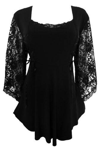 Dare to Wear Victorian Gothic Boho Women's Plus Size Anastasia Corset Top Black/Black 3x