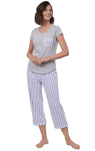 PajamaGram Womens Capri Pajama Set Short Sleeve Pajamas, Lavender, Medium 8-10